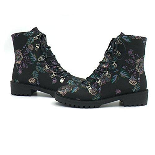 QPYC Tacchi Posteriori Delle Donne Stivaletti Femminili Manico Rotondo Martin Boots Scarpe Piatti Scarpe Da Donna Stivali Da Fiori flowers