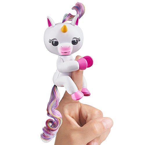 Fingerlings Einhorn weiß mit Regenbogenmähne, interaktives Spielzeug, reagiert auf Geräusche, Bewegungen und Berührungen, weiß