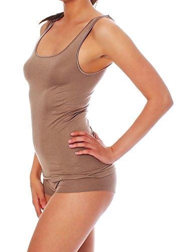 Damen Shirt ohne Arm, Achsel-Top Micromodal, Unterhemd von Schöller, Farbe Umbrau / Hellbraun, Größen 38-50 Umbrau / Hellbrau
