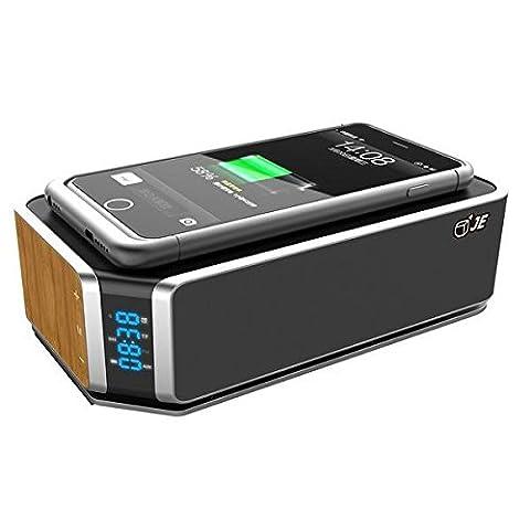 Shine @ sans fil Bluetooth 4.0Haut-parleur, Qi enceinte Bluetooth support mains libres appel téléphonique, réveil, radio FM, station de charge pour iPhone/iPad/Samsung