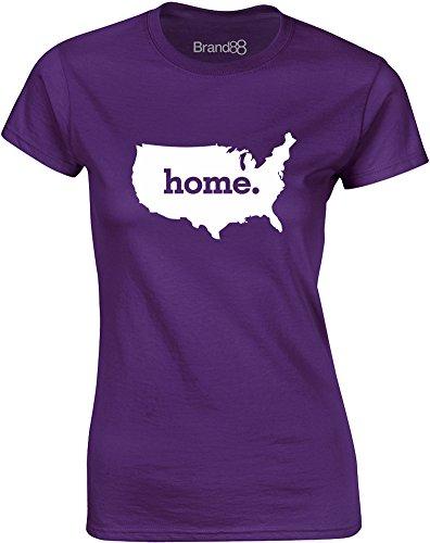 Brand88 - Home, Mesdames T-shirt imprimé Pourpre/Blanc