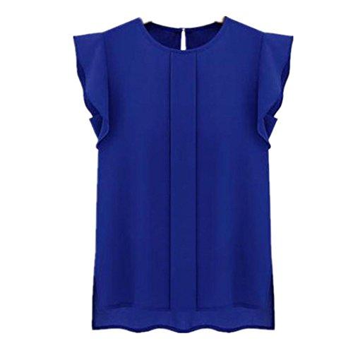 Amlaiworld Femmes en vrac Tulip courte en mousseline de soie manches chemisier Tops Bleu