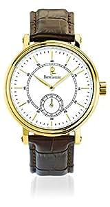 Pierre Lannier - 222C004 - Week-End Vintage - Montre Homme - Quartz Analogique - Cadran Blanc - Bracelet Cuir Marron