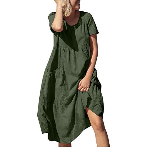 MAYOGO Damen Leichte Luftige Sommerkleider Freizeitkleider Damen Lang Maxikleider Locker Strandkleid Urlaub Kleid Baumwolle Leinenkleid Unifarben Solide Rundhals Große Größen Kurzarm mit Tasche (Queen Elizabeth 1 Kostüm Kinder)