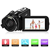 Videokamera Camcorder, ODLICNO Digitalkamera 1080P Full HD 24MP 3 Zoll TFT LCD Bildschirm 16X Digitalzoom 270 Grad drehbar Digitalrekorder DV Kamera