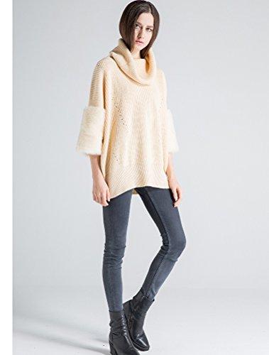 Vogstyle Femme Couleur Unie en Tricot Manches Longues en Vrac Pull-over Style-4 Beige