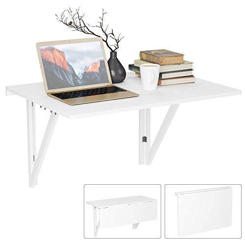 Homfa Wandtisch klappbar 80x60cm weiß mit 2 Halterungen Klapptisch Wand Küche Wandklapptisch Holz Esstisch Küchentisch -