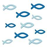 Oblique Unique® Holzfische Tischstreu Streuartikel Taufe Blau - Streudeko Verzierung für Taufe, Kommunion und Konfirmation - Echtholz