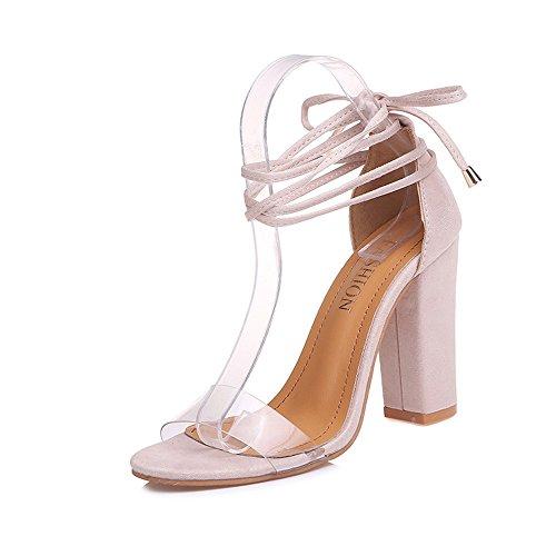 Xiaoqin scarpe col tacco donna sandali gladiatore con tacco largo e open toe block da donna abito da sposa stilett (color : pink, size : 39 1/3 eu)
