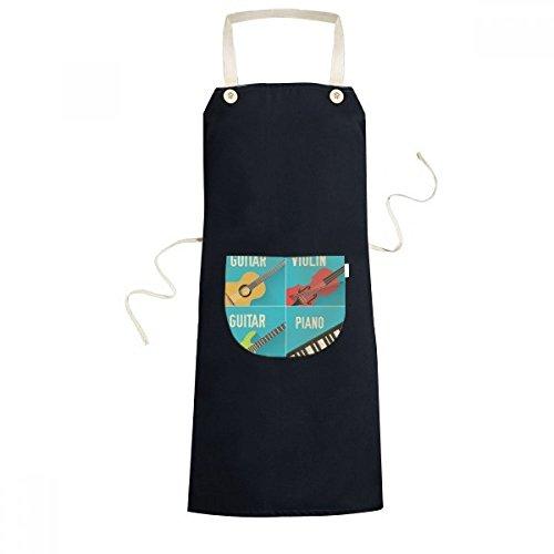beatChong Gitarre Violine Klavier Kombination Muster Kochen Küche Schwarz Schürzen mit Taschen Chef-Geschenke