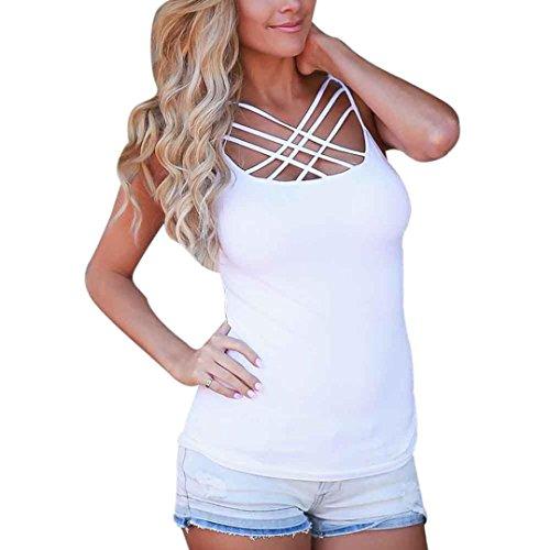 OverDose Damen Frauen Trägershirts Bustier Bra Weste Ernte Bralette Shirt Bluse Cami H-Weiß