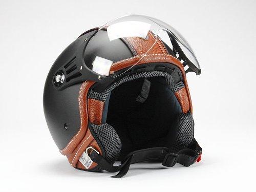 BNO 0P01-PL26 Jethelm Matt + Kunstleder , Motorradhelm, Schutzhelm Helm in der Größe M