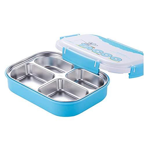iHouse Isolierte Brotdose aus Edelstahl für Kinder, Fach auslaufsicher, Behälter für Cartoon-Lebensmittel mit großem Fassungsvermögen, 26,5 x 20,5 x 7,5 cm, blau 4 - Edelstahl-lebensmittel-fach
