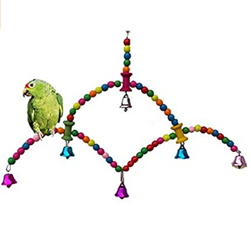 Milopon Parrot Swing Toy Birds Stand Perch Birds Climbing Toys Parrot Chew Toys 3