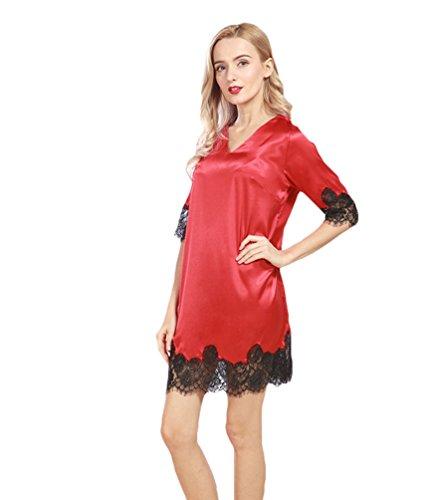 WanYang Dame Nachtkleid Nachtwäsche Spitze Ausschnitt Satin Pyjama Nachthemd Rot