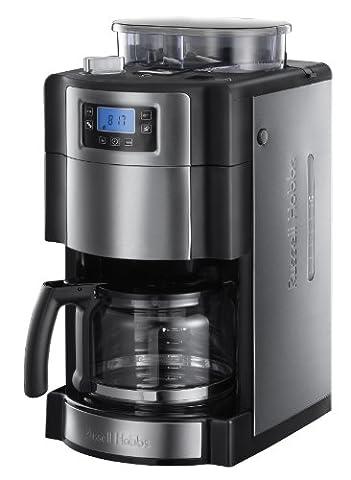 Russell Hobbs Buckingham Grind & Brew 20060-56 Digitale Glas-Kaffeemaschine mit integriertem Mahlwerk schwarz / silber