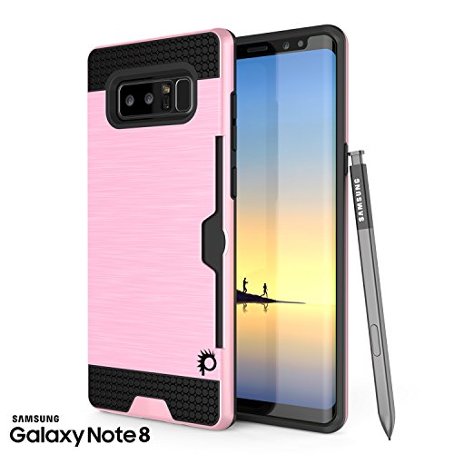 punkcase Galaxy Note 8 Fall Slot-Serie Slim Fit Dual-Layer-Rüstung Cover W/integrierte Anti-Shock System Credit Card Slot Punkshield Screen Protector für Samsung Note 8 Pink Pink Screen Protector