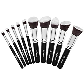 Make-Up Pinselset Kosmetik Kabuki Pinsel Set - 10 Teiliges Premium Schminkpinsel Set (Puderpinsel Foundation Pinsel Inkl.) - Ideal für Puder, Cremige oder Flüssige Foundation und andere Makeup Produkte - Super Geschenkidee - Angebotspreis nur für kurze Zeit!