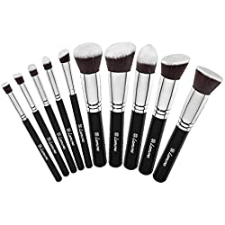 Set Pinceaux de Maquillage - Kit Kabuki Fond de teint, Poudre, Fard à Joues, Anticernes - Poils Soyeux Synthétiques de Qualité Premium - Collection de 10 Pinceaux pour les Yeux et du Visage