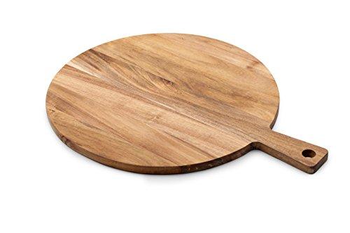 Tivoli Schneidebrett / 46 x 36 cm / Ø 36 cm / Hergestellt aus hochwertigem Acacia Holz / Multifunktionell Runder Tisch Glas Abdeckung