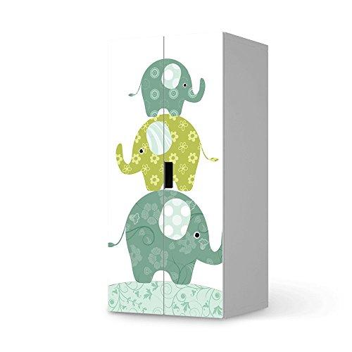 Möbel-Aufkleber Folie für Ikea Stuva Kommode Schrank - 2 Große Türen | Sticker Kinder-Zimmer dekorieren | Wohnideen Ikea Möbel für Kinder-Zimmer Dekor | Kids Kinder Elephants