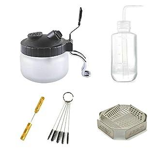 ABEST 5 Sets Mehrzweck Airbrush Bürstenhalter Waschen Reinigung Glas-Topf Jar Ölgemälde Pinsel-Stift Waschen unterstützt Reinigungsbürste Düse Repair Tools Kunststoff Flasche