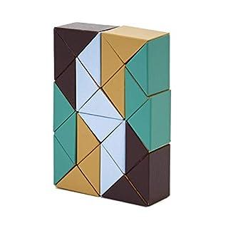AREAWARE czsbsbg Schlange Block Holz Spielzeug Puzzle–Beige/Grün