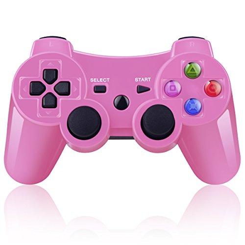 BLUELAKE performance Doppelter vibrierender Wireless Controller für PS3 mit Lade Kabe(Rosa)