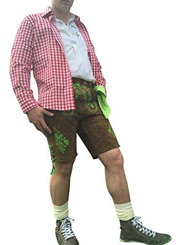 Trachten-Anzug Lederhosen Plattler+Hemden+Schuhe (Haferl)+Strümpfe+Träger Braun Echt Leder Herren (62)
