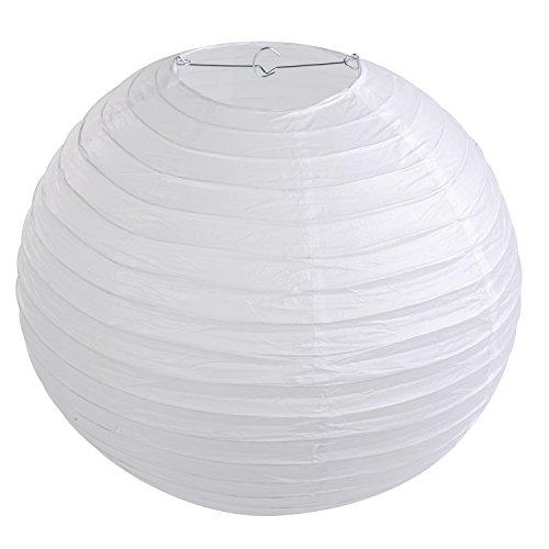 """LIHAO 16\"""" Weiße Papier Laterne Lampion Rund Lampenschirm Hochtzeit Party Dekoration Ballform (10er Packung)"""