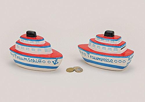 Preisvergleich Produktbild Spardose Traumschiff oder Traumreise aus Keramik 17 x 8 x 11 cm (Traumreise) Geschenk Kreuzfahrt Gutschein