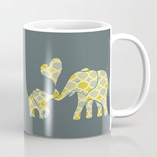 Qemingyer Elefantes Diseño Tazas de la Novedad Taza de café Regalo para Las Mujeres Regalo de cumpleaños para él Regalo para Ella Funny mamá Regalos 11Oz Tazas de cerámica mamá de Ambos Lados
