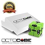 OCTOCUBE Infinity Cube Würfel Zappeln Stress Spielzeug für Angst, Langeweile, Angst | Cool für Kinder, Erwachsene | Stressreduzierung bei Raucherentwöhnung, Nägelkauen – Mit Grünem Gummi überzogen