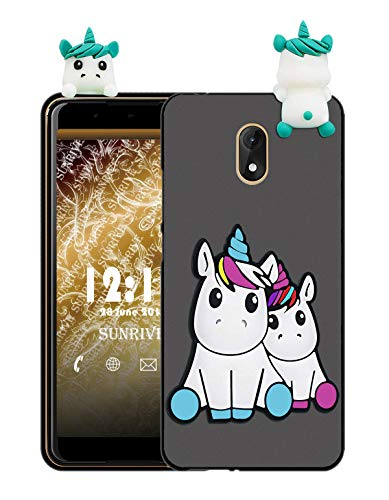 Sunrive Für Wiko Lenny 5 Hülle Silikon, Handyhülle matt Schutzhülle Etui 3D Case Backcover Tiere Muster Cover Handy Tasche Bumper(W1 Einhorn 2)+Gratis Universal Eingabestift Tier Handy Cover