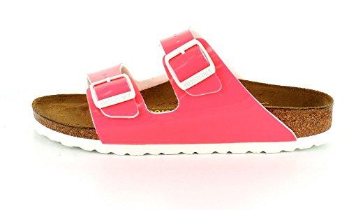 Birkenstock Arizona 252743, Unisex - Erwachsene Clogs & Pantoletten aus Birko-Flor Neon Pink Patent Birko-Flor