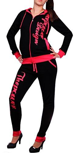 Damen Jogginganzug Thepower Design 506 (M, Schwarz/Pink) (Schwarz Trainingsanzug Damen)