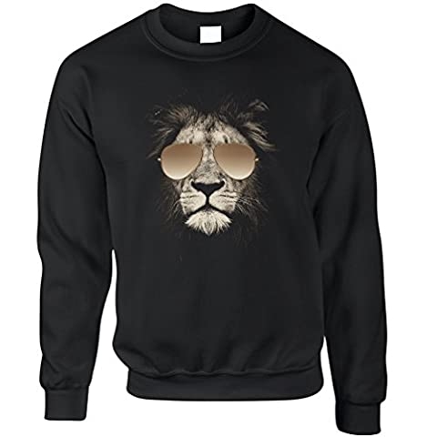 Lion Wearing Aviator Sunglasses High Quality Photo Image Designer Printed Cool Club Music Animal Bad Logo Unique Stylish Unisex Sweatshirt Sweater Cool Birthday Gift Prese