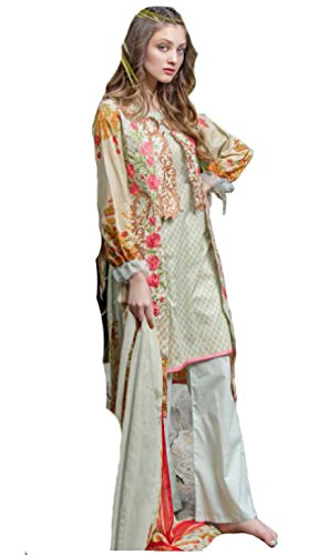 Madeesh Pakistani Suit for Women, Self Embroidery Top in Pure Cotton, Semi Lawn Bottom, Printed Chiffon Dupatta, Pakistani Style Designer Salwar Kameez for Girls/Women  available at amazon for Rs.1599
