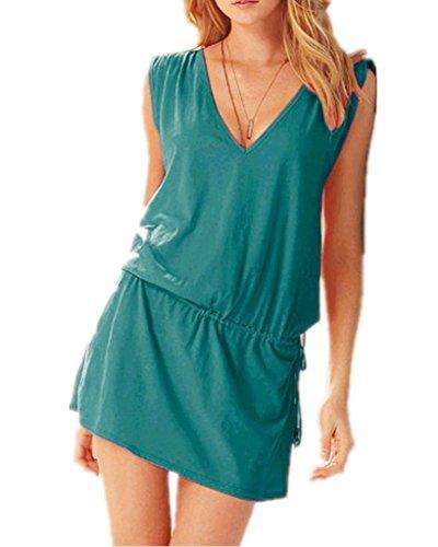 V-Ausschnitt Öffnen Rückseite Strand Bikini Vertuschung Kleid Strand Rock Pfau blau (All In One Badeanzüge Für Mädchen)