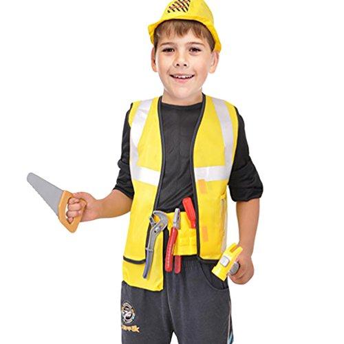Kostüm Kinder Bauarbeiter - NiSeng Bauarbeiterkostüm faschingskostüme Kinder Bauarbeiter kostüm Halloween Cosplay Kostüme Party Bekleidung Gelb S(Größe 95-110cm)