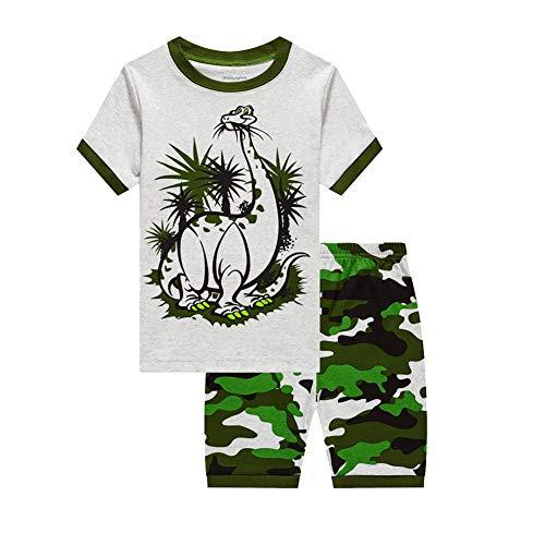 Showu Junge Baumwolle Kurzarm T-Shirt und Shorts Cartoon-Muster Bekleidungsset Set (Dinosaurier5, 4-5Jahre)