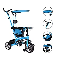 FOXHUNTER Baby Kids 4in1 Tricycle Ride on Bike Push Along Trike Buggy Stroller Adjustable Seat 3 Wheels Removable Canopy FH-KT01 Blue
