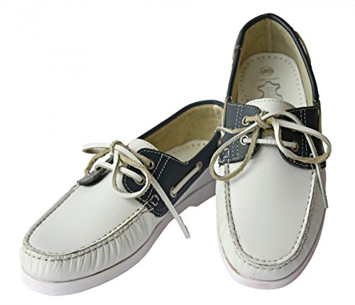 Beverley Originals Herren Leder Bootsschuh Men's Casual Colour weiß / navyblau / silber
