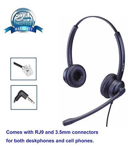 Center Call Telefon Headset (Telefon Headset Call Center Kopfhörer RJ Telefon Kopfhörer Wired mit Noise Cancelling Mikrofon für Yealink mit RJ11 und 3.5mm Klinke für Snom Grandstream Panasonic und Mobiltelefone iPhone Samsung LG HTC Blackberry Huawei)