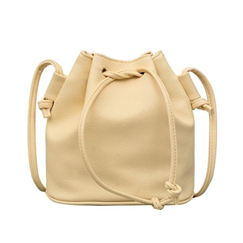Umhängetasche Damen URSING Ledertasche Classic Reine Farbe Drawstring Eimer Tasche Crossbody Messenger Bag Frauen Handtasche Schulranzen Satchel Beuteltasche Schultertasche Damenmode (Gelb) -