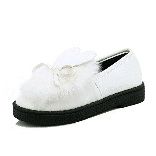 AllhqFashion Damen Ziehen Auf Niedriger Absatz Pu Leder Rein Rund Zehe Pumps Schuhe Weiß