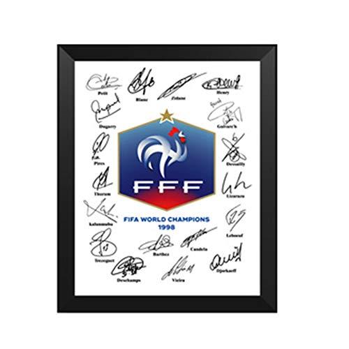 LJSHU Photo Frame Photo 1998 Französischer Weltmeister Unterschrift Kopieren Drucken Massivholzrahmen Photo Home Wandmontierte Desktop Collectibles Dekoration,7inch
