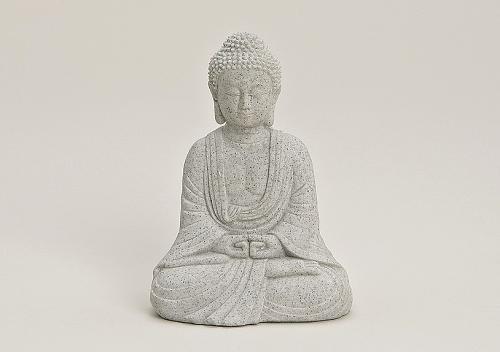 Buddha-Figur sitzend, 13cm in Grau | Deko-Artikel für Wohnung, Haus & Garten | Buddha-Skulptur, Wohnaccessoire ideal als Geschenk | Buddha-Statue Feng Shui Dekoration | Garten-Figur