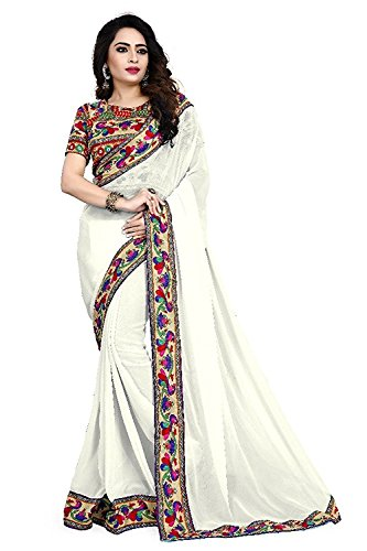 Onlinehub Women's Georgette Saree With Blouse Piece (Online.hubwhitepeackock(Dv)_White_Free Size)
