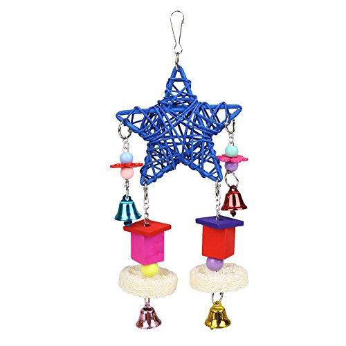 Rosepoem Rattan-Weben Fünf-Sterne-Hänge-Gebote Cage House Haustierstiche Papagei Vogel Klettern Kauen Spielzeug mit Bell Swing (Wein Weben)